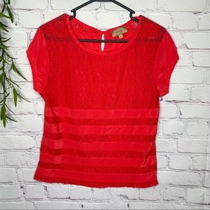 Kachel Anthropologie red lace stripe top size 2